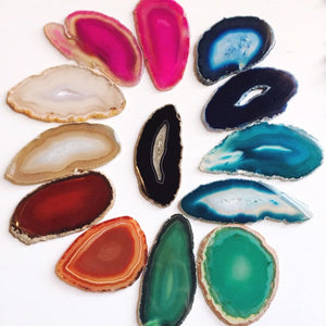 Agate Magnets, 2-3.5 inch geode slices in various colors, geode slice