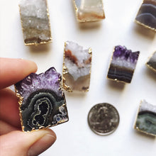 Load image into Gallery viewer, Amethyst gold plated slice