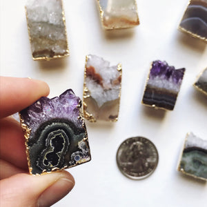 Amethyst gold plated slice