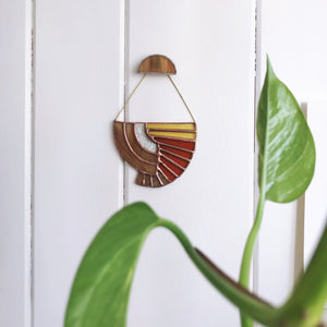Art Deco inspired stained glass wall hanging suspend.it