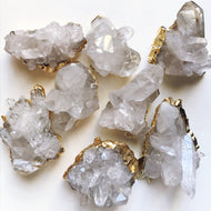 Premium quartz crystal with gold electroplated edge