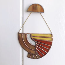 Load image into Gallery viewer, Art Deco inspired stained glass wall hanging suspend.it