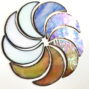 Iridescent stained glass crescent moon suspend.it