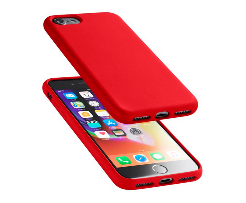 Custodia soft touch silicone interno vellutino per apple iPhone SE 2020 / 8 / 7 Rossa CellulaLine