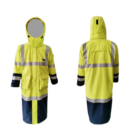 PRO ARC PRARCTC FR/ARC Rated Breathable High Visibility Rainwear Trench Coat Yellow/Navy
