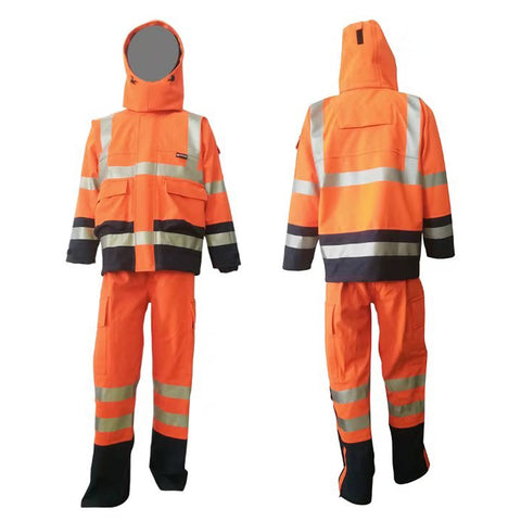 PRO ARC PRARCC & PRARCT SET FR/ARC Rated Breathable High Visibility Rainwear Coat Yellow/Navy