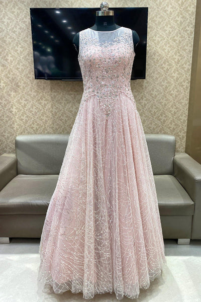 Light Peach  Sequins, Stone, Mirror and Threadwork Bridal Gown - View 1