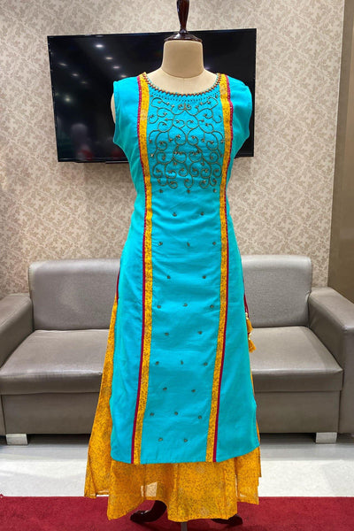 Blue and Yellow Beadwork Layered Long Kurti - View 1