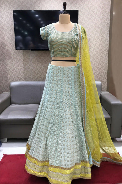 Powder Blue and Yellow Sequins Worked Lucknowi Crop Top Lehenga - View 1
