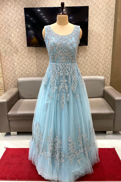 Light Blue Stone and Threadwork Party cum Bridal Gown - View 1