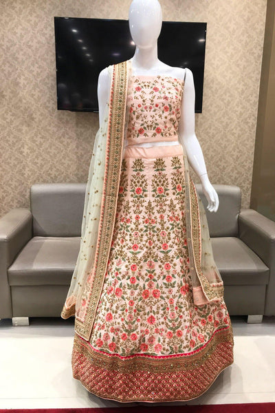 Peach Pink Aari, Thread and Stone Semi Stitched Bridal Lehenga  - View 1