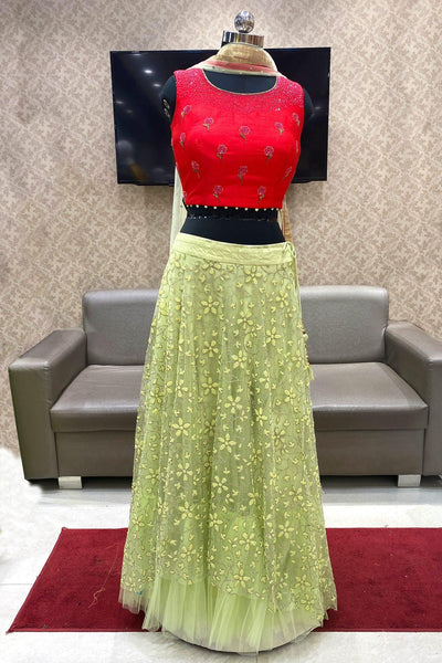 Lime Green and Deep Pink Pearl and Beadwork Crop Top Lehenga - View 1