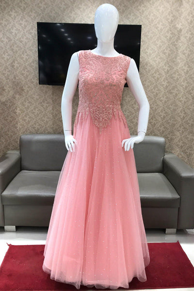 Baby Pink Stone and Threadwork Party cum Bridal Gown - View 1