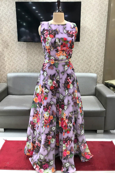 Lavender Floral Print Floor Length Casual Gown - View 1