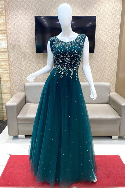 Bottle Green Threadwork and Stone Embellished Party Gown 1