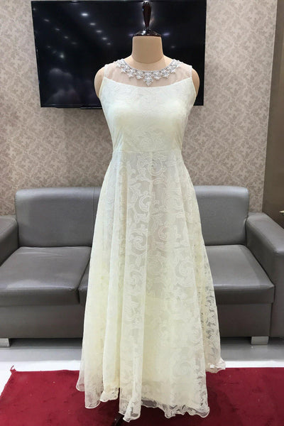 White Pearl and Threadwork Casual Gown - View 1