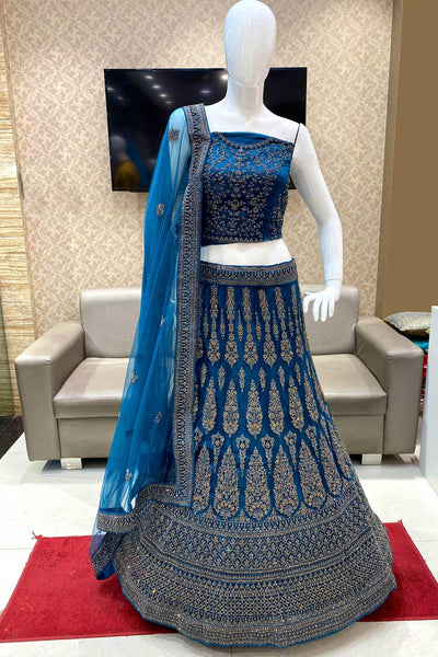Sapphire Blue Stone and Threadwork Semi-Stitched Designer Lehenga - View 1