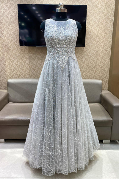 Light Grey Sequins, Stone, Mirror and Threadwork Bridal Gown - View 1