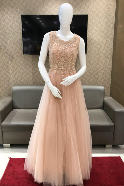 Peach Threadwork and Stone Embellished Party Gown 1