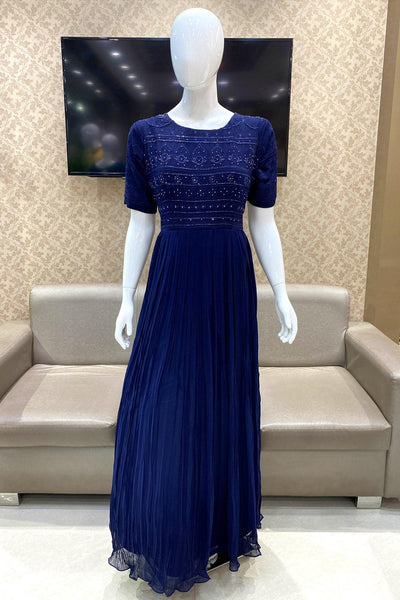 Navy Blue Thread and Sequins work Long Partywear Gown - View 1
