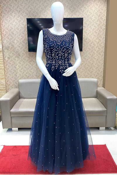 Royal Blue Threadwork and  Stone Embellished Party Gown - View 1