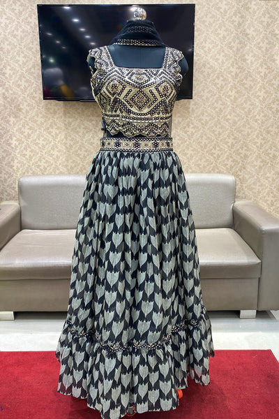 Cream and Black Thread and Silver Foil Work Crop Top Lehenga- View 1