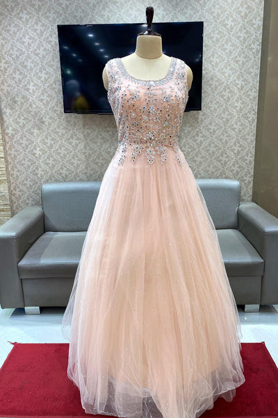 Light Peach Mirror, Stone and Threadwork Party Gown - View 1
