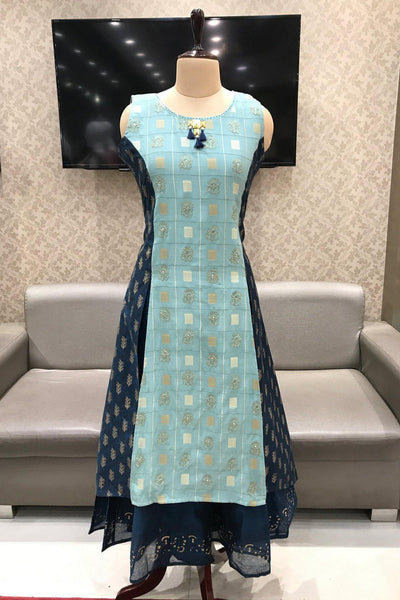 Light Blue with Navy Blue Bead and Threadwork Anarkali Kurti - View 1