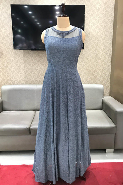 Grey Self Patterned Threadwork with Stone Party Gown - View 1