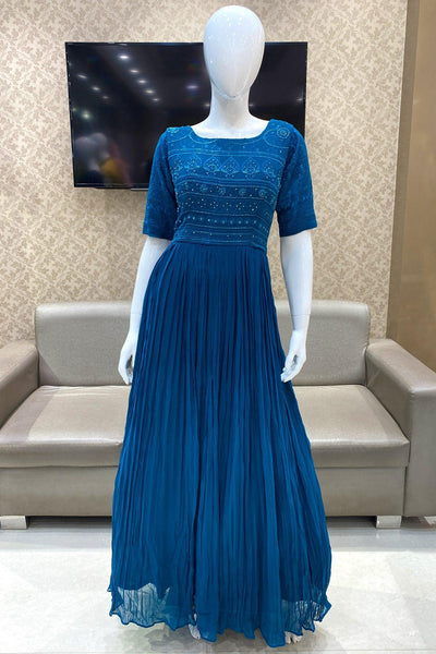Sapphire Blue Thread and Sequins work Long Partywear Gown - View 1