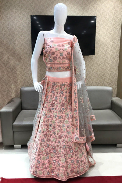 Peach Aari, Stone and Embroidery Semi-Stitched Designer Lehenga - View1