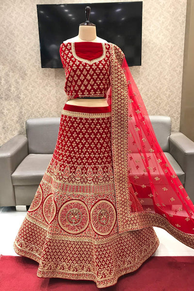 Red Threadwork With Golden Beads Semi-Stitched Designer Lehenga - View 1