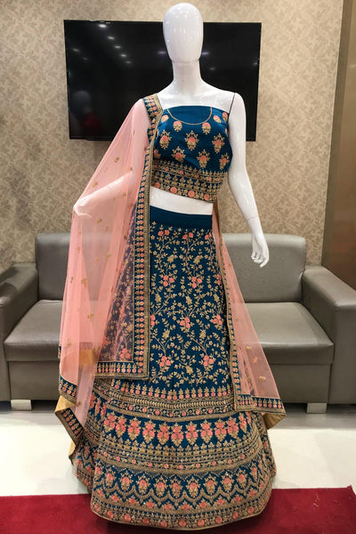 Sapphire Blue and Pink Threadwork and Stone Semi Stitched Lehenga - View 1