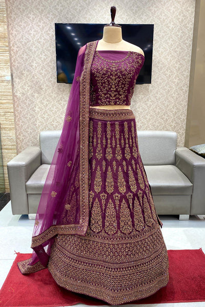 Wine Coloured Stone and Threadwork Semi-Stitched Designer Lehenga - View 1