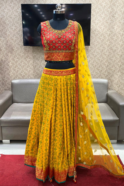 Orange and Yellow Stone with Threadwork Crop Top Lehenga - View 1