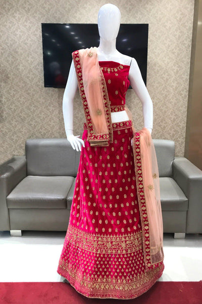 Red and Peach Thread and Stonework Semi-Stitched Designer Lehenga - View 1