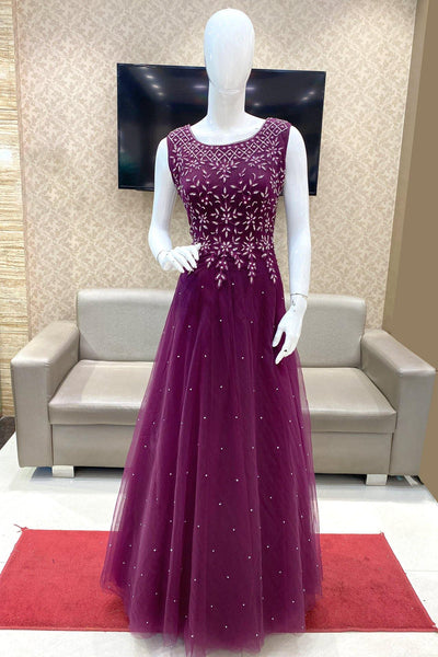 Purple Threadwork and Stone Embellished Party Gown 1