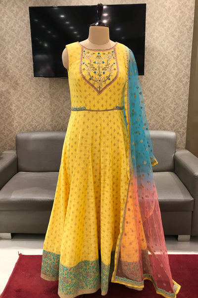 Yellow Stone and Threadwork Long Anarkali Salwar Suit - View 1