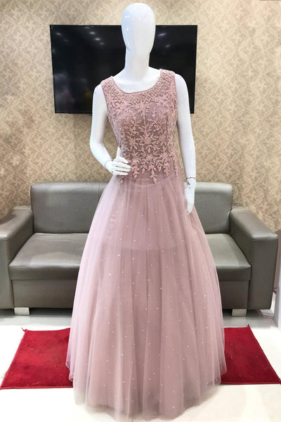 Light Onion Pink Threadwork and Stone Embellished Party Gown 1