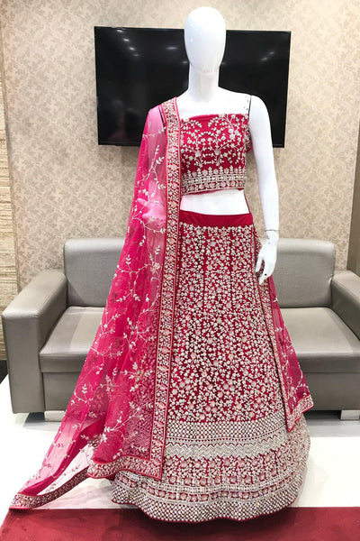 Fuchsia Pink  Aari, Thread and Stone Semi-Stitched Designer Lehenga - View 1