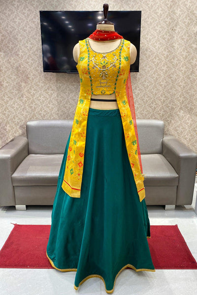 Yellow, Bottle Green Thread and Stonework Mastani Style Crop Top Lehenga - View 1