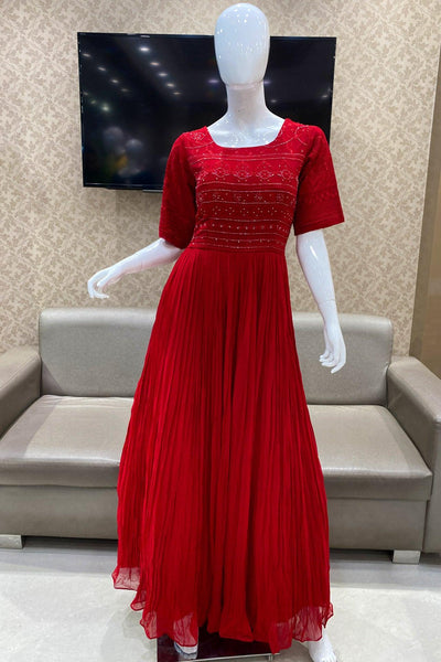 Red Thread and Sequins work Long Partywear Gown - View 1