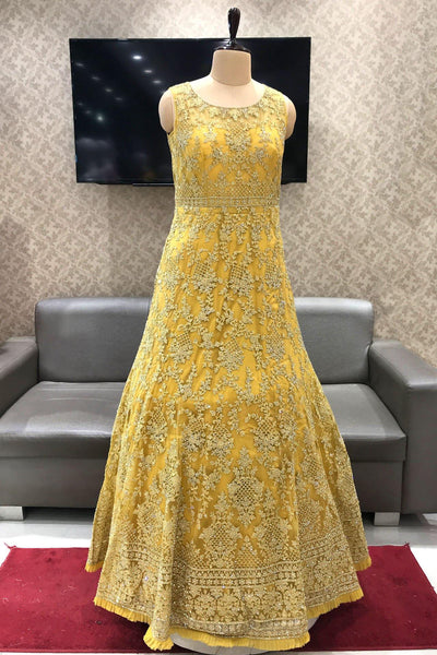 Golden Yellow Stone and Threadwork Bridal Gown - View 1