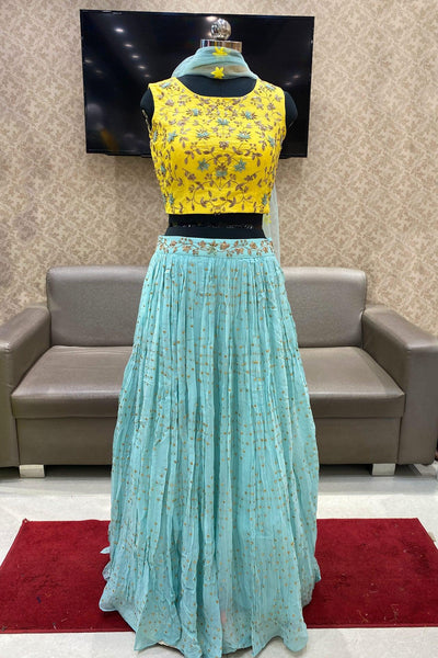 Yellow and Powder Blue Thread and Zardosi Work Crop Top Lehenga - View 1