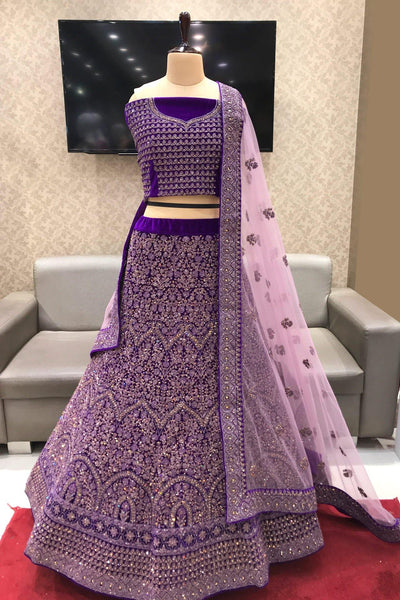 Purple Aari, Thread and Mirrorwork Semi Stitched Designer Lehenga - View 1