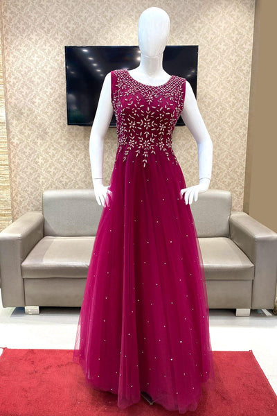 Magenta Threadwork and Stone Embellished Party Gown - View 1