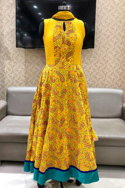 Yellow Multicolour Thread Embroidery Anarkali Suit - View 1