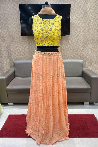 Yellow and Peach Thread and Zardosi Work Crop Top Lehenga - View 1