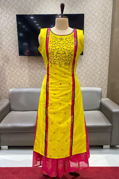 Yellow and Rani Pink Beadwork Layered Long Kurti - View 1