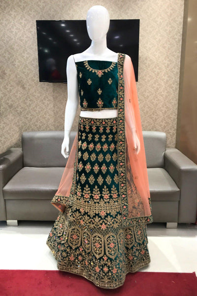 Dark Green and Peach Thread and Stonework Semi-Stitched Designer Lehenga - View 1